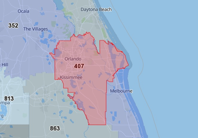 407 Area Code Map