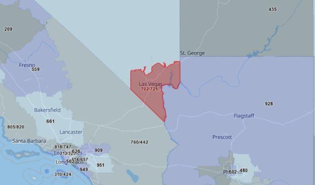 702 Area Code Map
