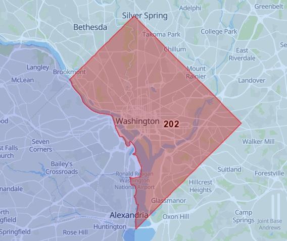 202 Area Code Map