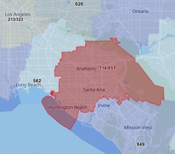 714 Area Code Map