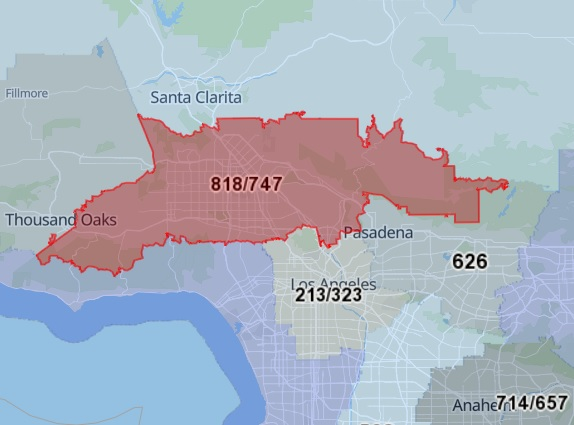 818 Area Code Map